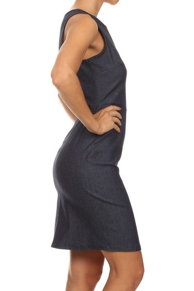 Womens Denim Sleeveless Sheath Dress