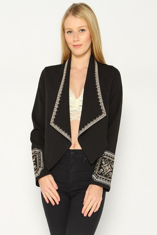 Womens Black Cropped Jacket with Beaded Embellishments