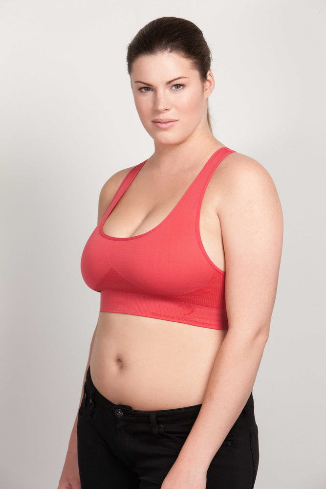 Breast Whisperer Bra for Natural Women in Coral Side