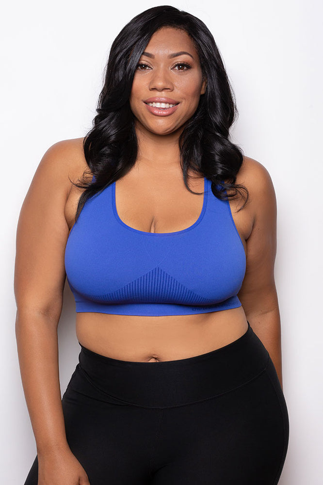 Breast Whisperer Bra Curve in Blue Front Closeup