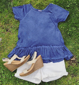 Expose Those Ruffles Top in Navy (D1812F)