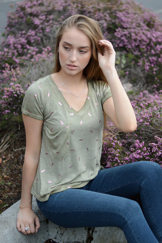 moss light sage olive green Short Sleeve V-Neck T-Shirt with shiny metallic foil pineapple print and a slouch slub pocket by high quality women's designer clothing brand dantelle apparel