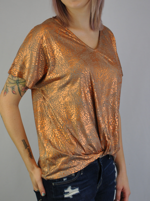 Twist Front Top with Foil Detail