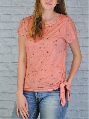 Side Tie Top with Bee Print