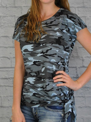 Side Tie Top with Camo Print