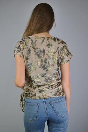 Extended Shoulder Tropical Leaf Metallic Foil Print Side Tie Oil Dye Top