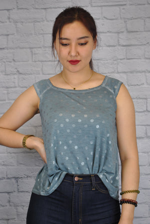 Sleeveless Square Neck Swing Top with Polka Dots