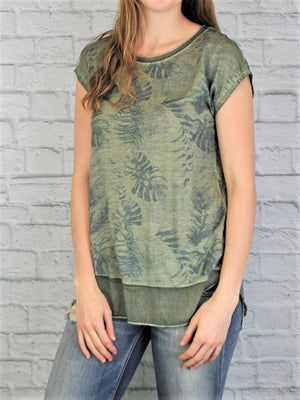 Chiffon Trim Oil Dye Top