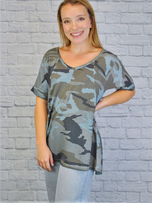 Seamed Camo Swing Top