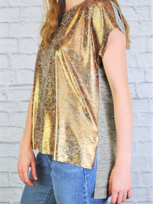 High Low Allover Shine Top
