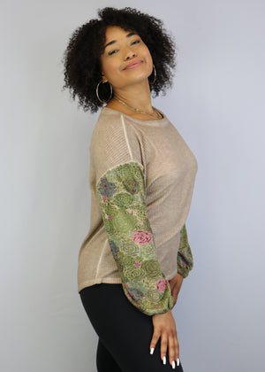 Floral Long Sleeve Elastic Cuff Top