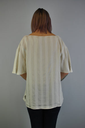 Dècoltè Relaxed Fit Top with Flounce Sleeve