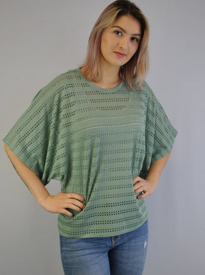 Dècoltè Extended Shoulder Lattice Mesh Stripe Topper