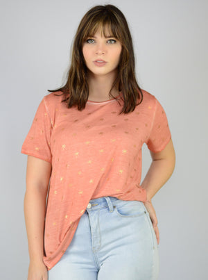 High Quality Womans Coral Peach Orange Color Oil Dye T-Shirt with Gold Metallic Shiny Palm Trees Printed by Seattle Based clothing brand Dantelle Apparel