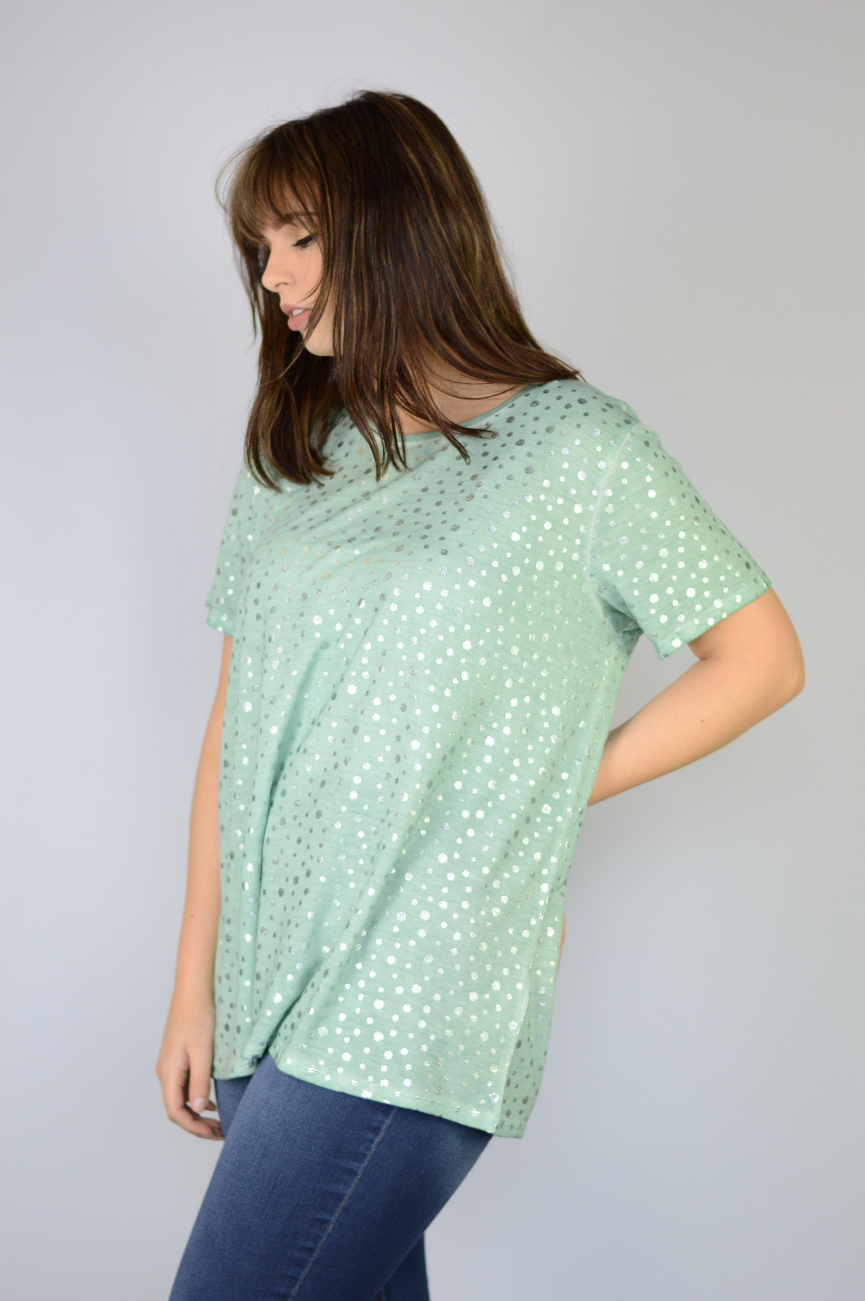 Mint Teal Green Short Sleeve T-Shirt Top with little silver shiny metallic seashells printed seattle washington based women's clothing brand dantelle apparel