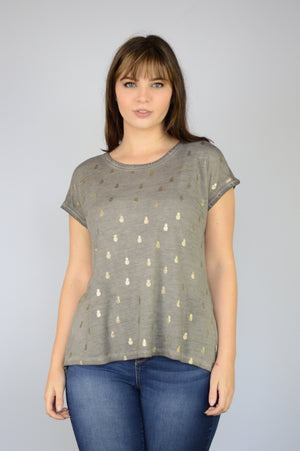 Extended Shoulder Flounce Back Metallic Foil Pineapple Print Oil Dye Top
