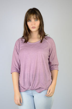 Dantelle Apparel Purple 3/4 Sleeve Twist Front Flattering Oil Dye Top