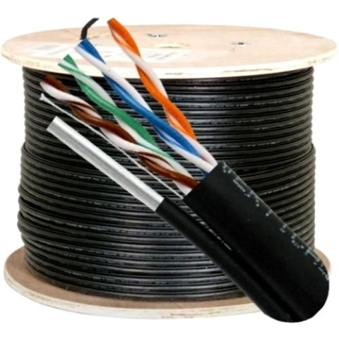 Cat5e, 350 Mhz, UTP, UV Jacket, Outdoor, CMX, Messenger, 1000ft, Black, Bulk Ethernet Cable, Wooden Spool