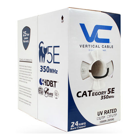 Cat5e, 350 Mhz, UTP, UV Jacket, Outdoor, CMX, 1000ft, Black, Bulk Ethernet Cable