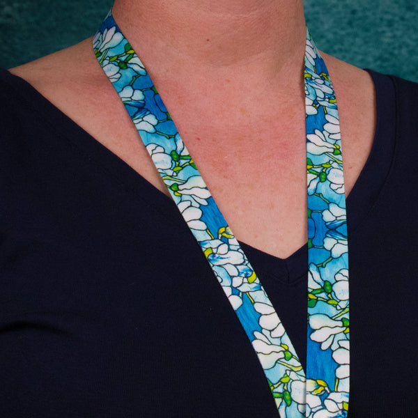 Buttonsmith Tiffany Magnolia Lanyard - Made in USA