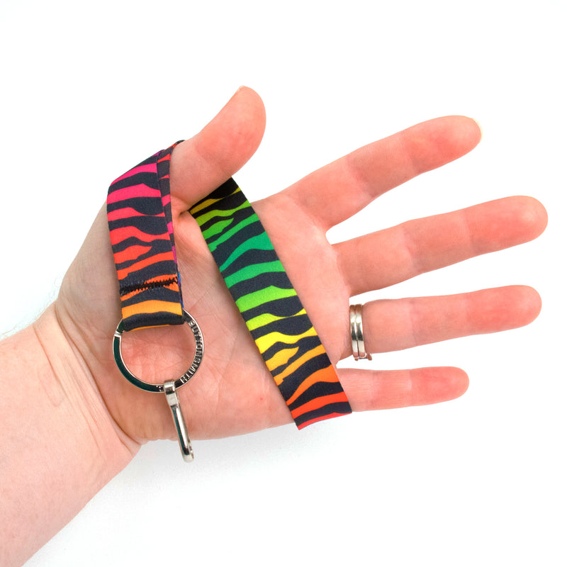 Buttonsmith Rainbow Zebra Wristlet Lanyard Made in USA - Buttonsmith Inc.