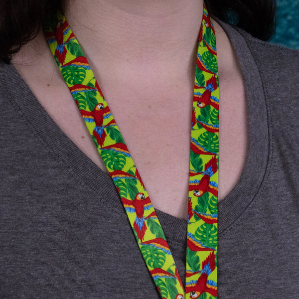 Buttonsmith Scarlet Macaw Breakaway Lanyard Made in USA