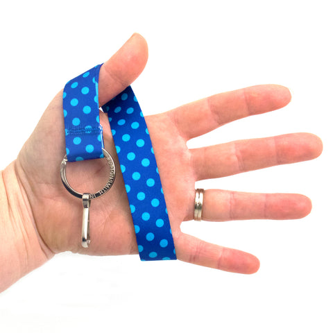 Buttonsmith Blue Dots Wristlet Lanyard Made in USA