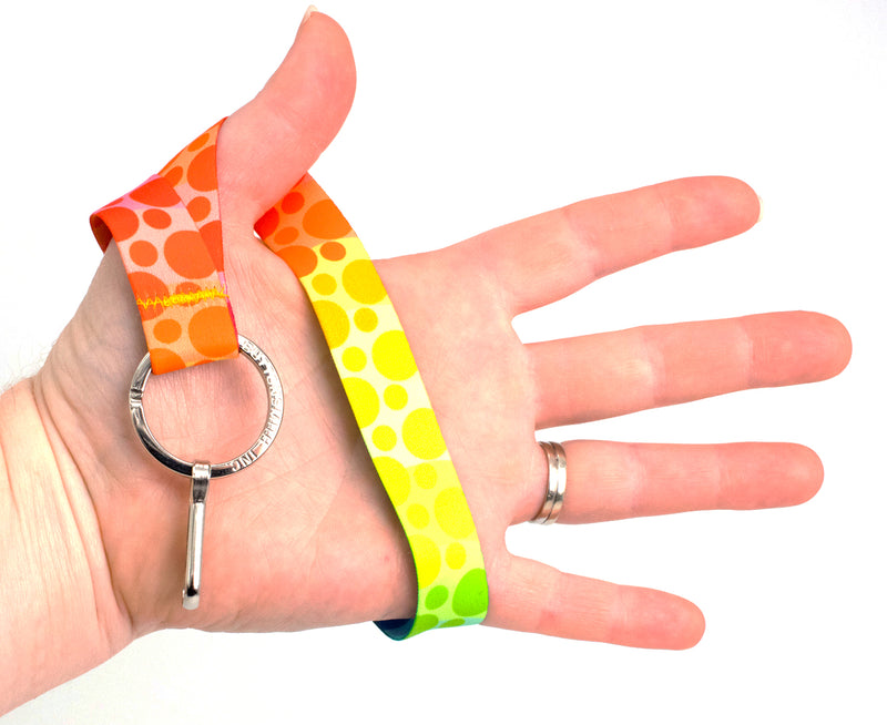 Buttonsmith Rainbow Dots Wristlet Lanyard Made in USA - Buttonsmith Inc.