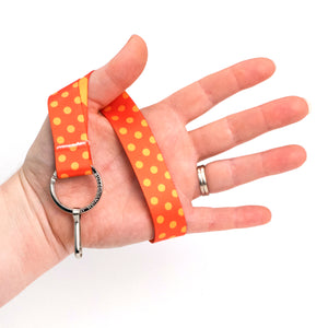 Buttonsmith Orange Dots Wristlet Lanyard Made in USA