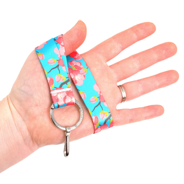 Buttonsmith Cheery Cherry Blossoms Wristlet Lanyard - Made in USA