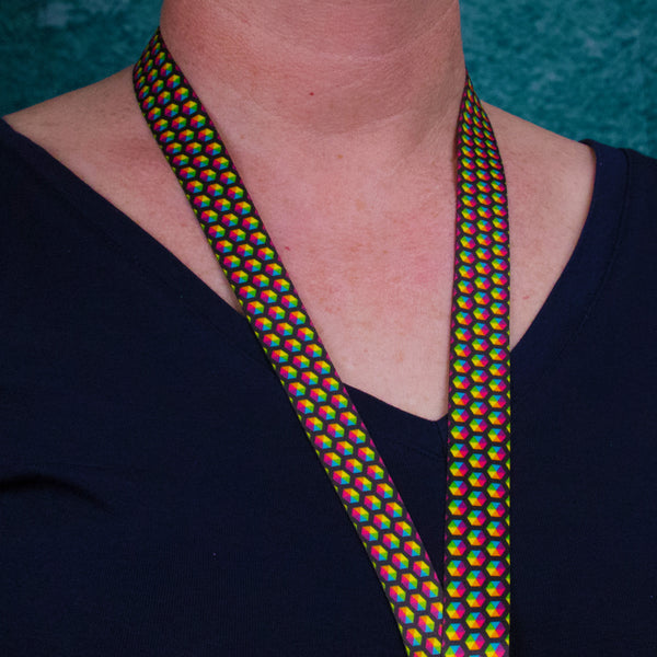 Buttonsmith Rainbow Hexes Breakaway Lanyard - Made in USA