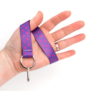 Buttonsmith Magenta Dots Wristlet Lanyard Made in USA