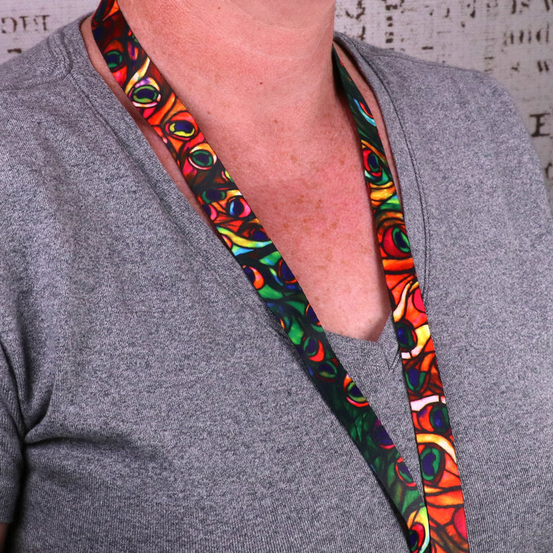 Buttonsmith Tiffany Peacock Custom Lanyard Made in USA - Buttonsmith Inc.