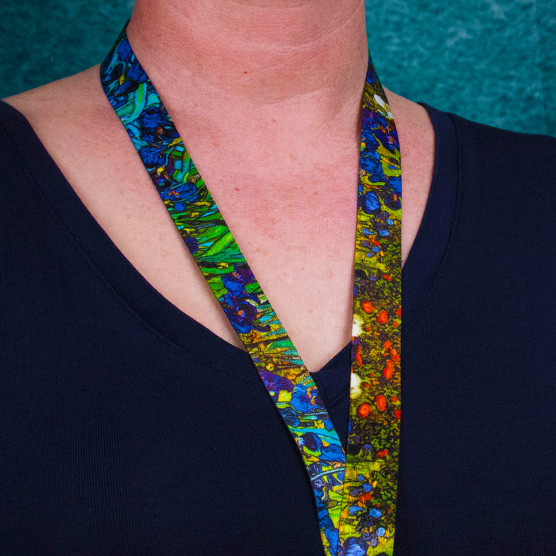 Buttonsmith Van Gogh Irises Lanyard - Made in USA - Buttonsmith Inc.