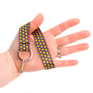 Buttonsmith Rainbow Hexes Wristlet Lanyard Made in USA