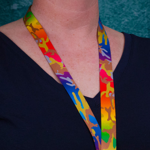 Buttonsmith Rainbow Camo Breakaway Lanyard - Made in USA