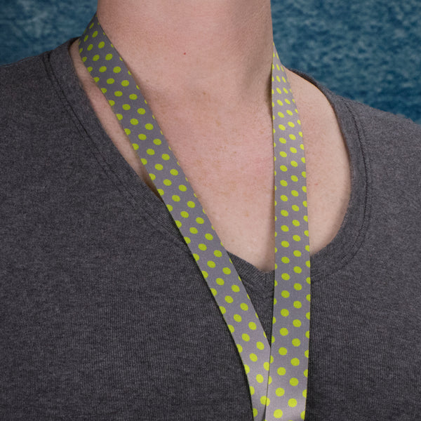 Buttonsmith Pewter Lime Dots Custom Lanyard - Made in USA