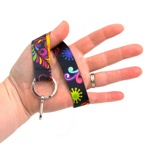 Buttonsmith Bright Floral Wristlet Lanyard - Made in USA