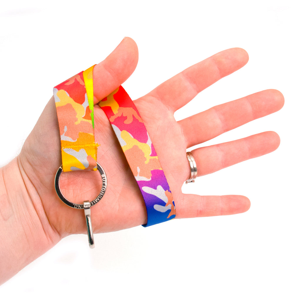 Buttonsmith Rainbow Camo Wristlet Lanyard Made in USA