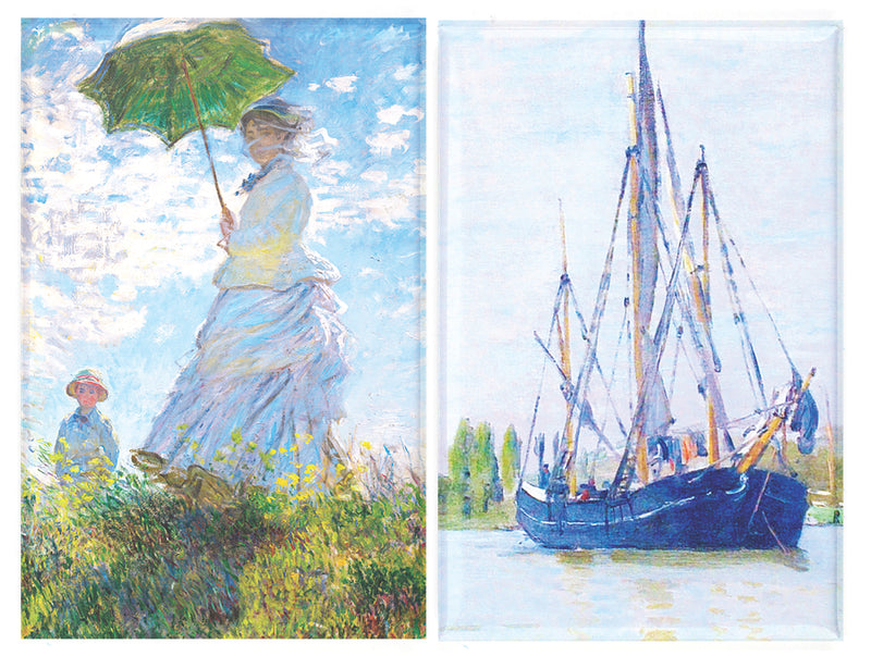 Buttonsmith® Claude Monet Parasol & Sailboat Refrigerator Magnet Set - Made in the USA - Buttonsmith Inc.
