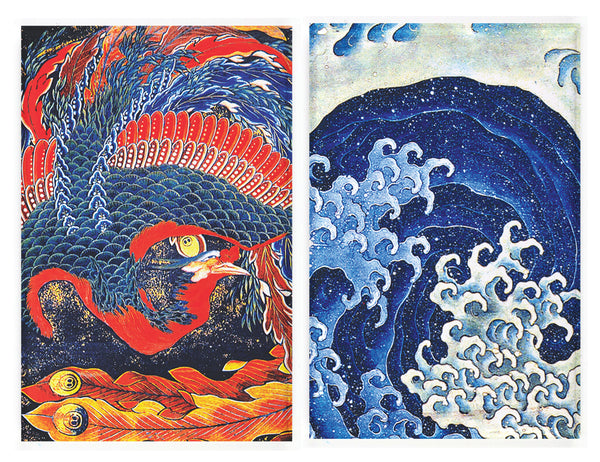 Buttonsmith® Hokusai Pheonix & Wave Rectagular Refrigerator Magnet Set of 2 - Made in the USA