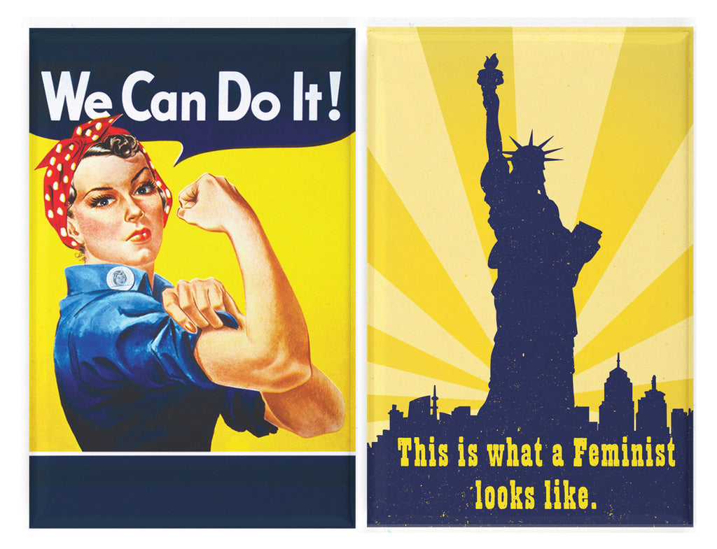 Buttonsmith® Retro Feminist Magnet Set with Rosie the Riveter and Lady Liberty, Made in USA
