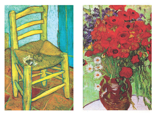 Buttonsmith® Vincent Van Gogh Chair and Poppies Refrigerator Magnet Set - Made in the USA