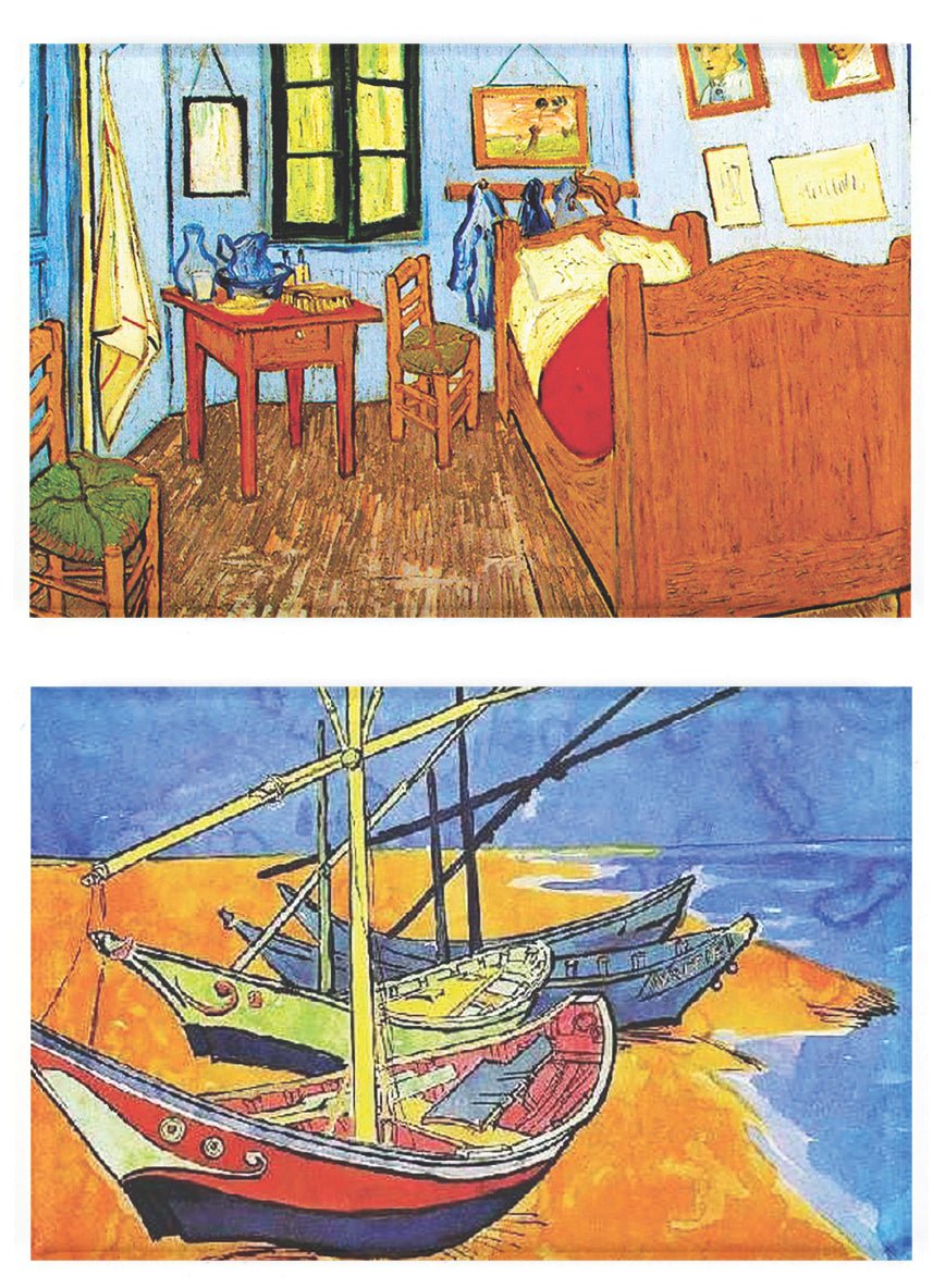 Buttonsmith® Vincent Van Gogh Bedroom and Sailboats Refrigerator Magnet Set - Made in the USA