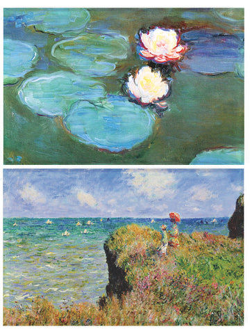 Buttonsmith® Claude Monet Water Lilies & Cliff Walk Refrigerator Magnet Set - Made in the USA