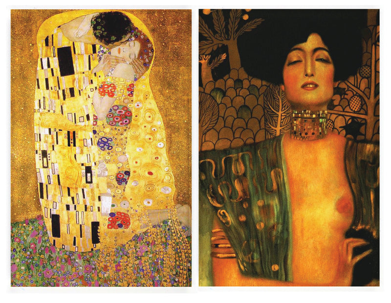 Buttonsmith® Gustav Klimt The Kiss & Judith Rectangular Refrigerator Magnet Set - Made in the USA - Buttonsmith Inc.