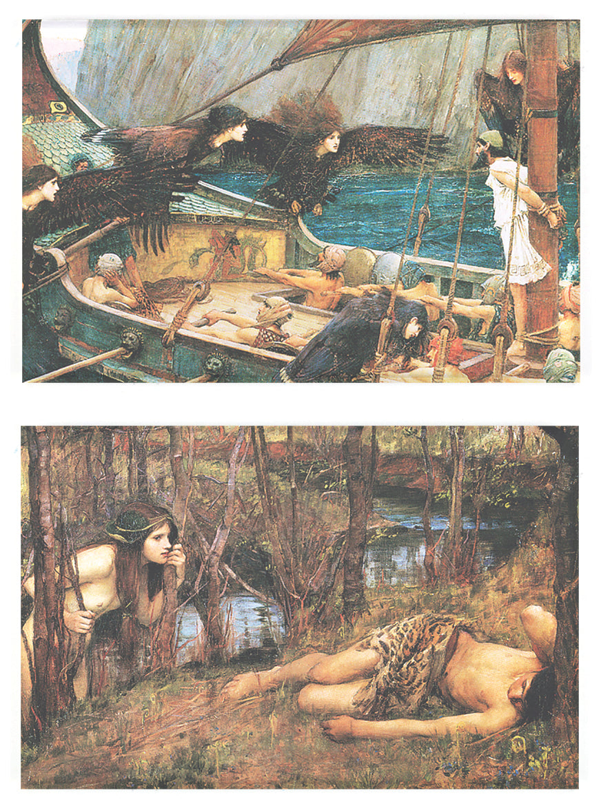Buttonsmith® John William Waterhouse Ulysses & Naiad Rectangle Magnet Set of 2 - Made in the USA