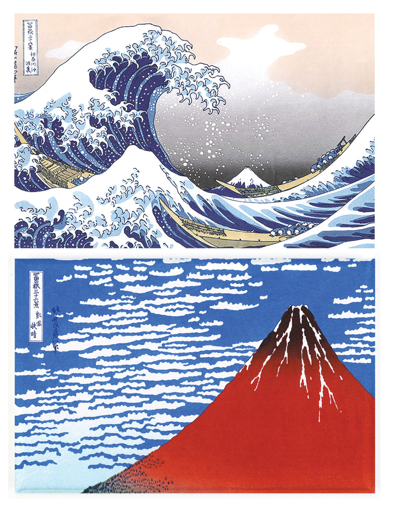 Buttonsmith® Hokusai Great Wave & Red Fuji Rectangular Refrigerator Magnet Set of 2 - Made in the USA - Buttonsmith Inc.