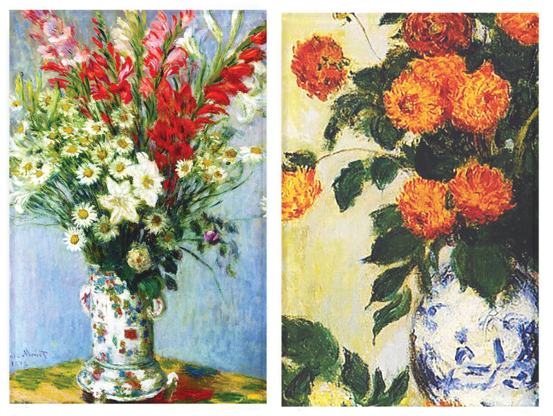 Buttonsmith® Claude Monet Gladiolas and Dahilas Refrigerator Magnet Set - Made in the USA - Buttonsmith Inc.