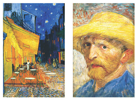 Buttonsmith® Vincent Van Gogh Self Portrait and Cafe Refrigerator Magnet Set - Made in the USA